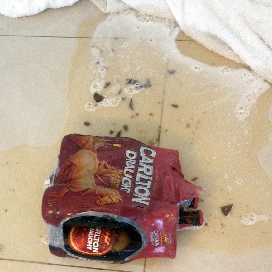Smashed beer bottles